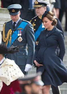 The Duchess of Cambridge at the commemoration today. Duchess Catherine is due to give birth in April.