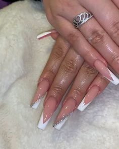 Nails gel, we adopt or not? - My Nails Bling Acrylic Nails, Drip Nails, Summer Acrylic Nails, Best Acrylic Nails, Rhinestone Nails, Bling Nails, Swag Nails, My Nails, French Tip Acrylic Nails