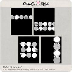 Round We Go Circles 8.5x11 Digital Scrapbooking Templates