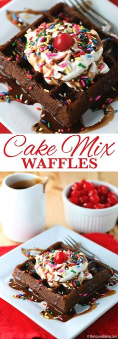 """Did you know that you can make AH-MAZING waffles using cake mix? I used the NEW Pillsbury Purely Simple Chocolate Cake Mix to make these """"hot fudge sundae"""" Cake Mix Waffles! Plus Party Planning Tips! Breakfast Waffles, Egg Recipes For Breakfast, Dessert Recipes, Desserts, Brunch Recipes, Cake Waffles, Breakfast Casserole, Breakfast Ideas, Cake Recipes"""