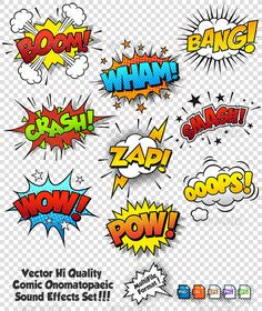 Comic Sound Effects — Photoshop PSD #boom #blank • Available here → https://graphicriver.net/item/comic-sound-effects/6508430?ref=pxcr