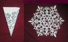Paper snowflake cutting  PATTERN. It's in Russian but the pictures are good.
