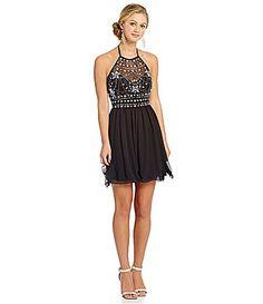 29fb16c949c B Darlin Illusion HalterNeckline Party Dress  Dillards Blue Dress Uk