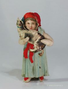 Girl holding her Cat - Cotton Christmas Ornament