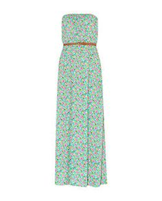 Green Floral Print Belted Maxi Dress | New Look