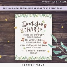 Woodland Animals Baby Shower Theme, Don't Say Baby Game Sign, Printable Baby Shower Games, Instant D - pinnerves Baby Shower Table, Baby Shower Fun, Baby Showers, Baby Shower Invitation Templates, Baby Shower Printables, Dont Say Baby Game, Baby Shower Activities, Woodland Animals, Woodland Baby
