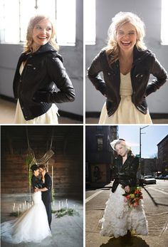 wedding dress with leather jacket - Google Search