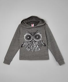 Steel Gray Metallic Owl Cropped Hoodie - Girls #zulily #ad *love