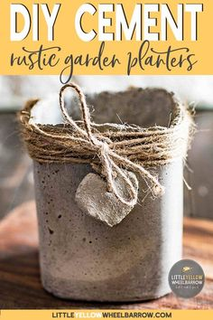 These cute rustic planters were made with a concrete clay called ShapeCrete.  It pours like regular cement but also works up like clay.  Check out the article to see how we made these without any expensive molds.  #cementplanters #concreteprojects #garden