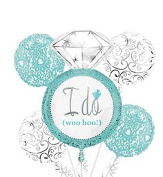 to our Robin's Egg Blue Bridal Shower Balloon Bouquet! Robin's Egg Blue Bridal Shower Balloon Bouquet features diamond ring and round damask balloons. Bridal Lingerie Shower, Bridal Shower Balloons, Wedding Balloons, Azul Tiffany, Tiffany Blue, Party City Balloons, Blue Wedding Decorations, Reception Decorations, Something Blue Bridal