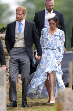 Meghan Markle Goes Floral & Coordinates with Prince Harry at Wedding of Princess Diana's Niece