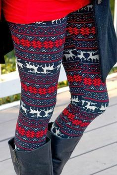 Red Flower Reindeer Print Legging
