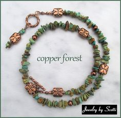 Copper and Turquoise Chip Necklace // Copper by JewelryByScotti