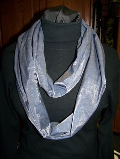Ladies Infinity Scarf Blue Denim with silver by civilwarlady