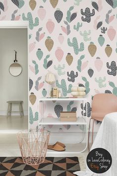 Pastel Cactus wallpaper / Removable wallpaper by loveCOLORAY