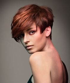 short red straight coloured Multi-Tonalk Womens haircut hairstyles for women Headmasters LONDON