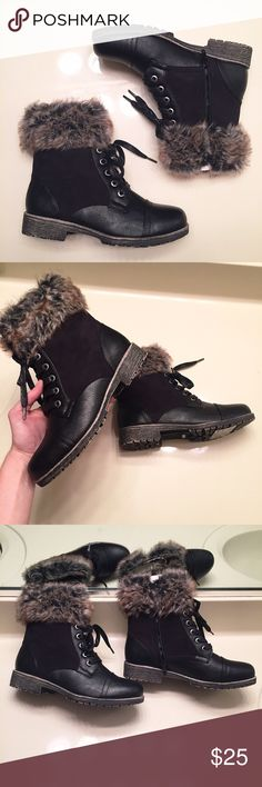 NEW black faux fur combat boots size 6 Brand new, never worn black combat boots with faux fur. Can be laced up and also have side zippers for convenience. Super cute style. Women's size 6 Shoes Combat & Moto Boots