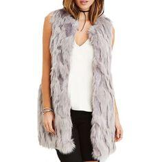 Forever 21 gray faux fur vest