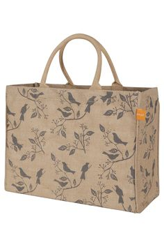 Features:  -100% Jute.  -Spot clean only.  -Color: Jute/Pewter.  -Pattern: Birds.  Product Type: -Lunch Bag.  Collapsible: -Yes.  Material: -Jute.  Color: -Natural jute; Pewter. Dimensions:  Overall H