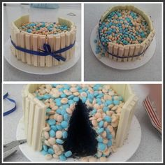 Frozen inspired blue velvet cake with white choc kitkat and vanilla m&ms. 1st attempt from scratch-too dark blue and not enough kitkats!