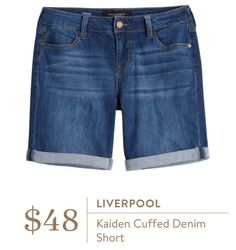 Liverpool Kaiden Cuffed Denim Short I haven't worn denim shorts since I was in my but these look cute. And I love the Liverpool jeans I got in my first Stitch Fix. Simple Outfits, Short Outfits, Casual Outfits, Cute Outfits, Casual Clothes, Summer Clothes, Casual Shorts, Stitch Fix Dress, Stitch Fix Outfits