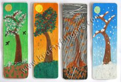 This handmade bookmarks set, in the theme of 4-Seasons, has been done in water painting on handmade paper, then plastic-laminated for durability. The four bookmarks in this collection depict Spring, Summer, Monsoon/Fall and Winter.