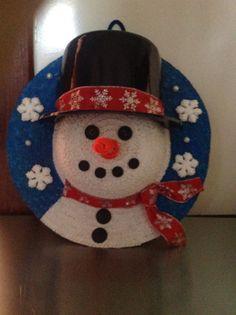Straw hat snowman wreath