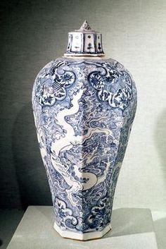 Octagonal 'Mei- P'ing' vase with white and blue decoration, from Baoding, Hebei, Yuan Dynasty (porcelain)