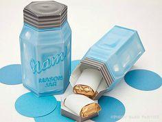 Mason Jar Favor Box BLUE : DIY Printable por PiggyBankParties