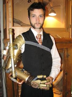 Finished Prosthetic Arm - The Steampunk Empire | Includes materials list (PVC pipe & gadgetry)