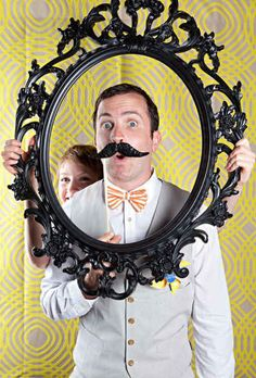 Remove the backing from an Ung Drill frame and use it as a prop for your photo booth.