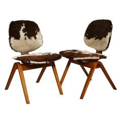 Pair of Cowhide Thonet Bentwood Chairs