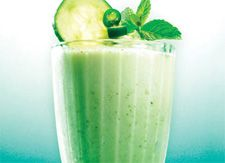 "FROZEN CUCUMBER AND MINT ""EYE OPENER""    Ingredients:  1/4 cup peeled cucumber  4 mint leaves, washed and dried  1/4 cup white grape juice  6 ice cubes  1 packet of BeautyScoop®    Preparation:    Put the cucumber, mint and grape juice in the blender and blend for 30 seconds. Add ice and blend for an additional 30 seconds. Add 1 packet of BeautyScoop® and blend for an additional minute. Pour into a glass, garnish with a mint leaf, grape and cucumber slice on a toothpick and drink…"