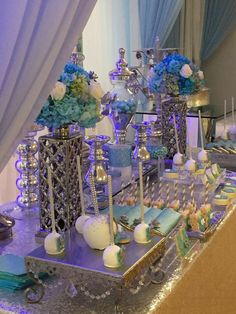 Gorgeous blue baby shower party! See more party ideas at CatchMyParty.com!