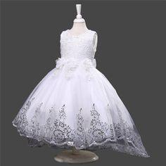 White Flower Girl Bridesmaids Communion Baptism Elegant Sequence Dress #018