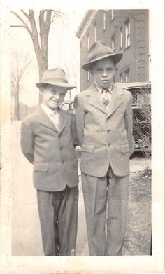 Black and White Vintage Snapshot Photograph 2 Boys Suit Hats Cute 1940'S | eBay