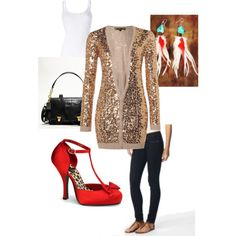 A touch of fire! Love the glitter cardigan