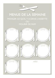 Lady Bidouille: Planning hebdomadaire des menus à imprimer