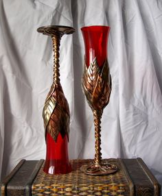 Red Champagne Flutes with Multi Gold Leaves and by MaevinWren