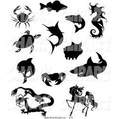 Fish Clip Art Black and White | Group of Black and White Silhouetted Crabs Fish Sea Turtle Dolphin ...