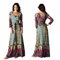 Bohemian Moroccan Maxi DressS M L Beautiful bohemian faux wrap maxi dress with a full skirt and vibrant print. Dress features three-quarter sleeves and a belt tie at waist. Sizes: Small, Medium, Large available. Size up if larger bust area/armsComment below with size and I will create a new listing for you to it purchase. Dresses Maxi