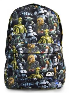 """Star Wars Multi Character"" Backpack by Loungefly (Black/Multi) #inkedshop #starwars #bookbag #cartoon #backpack"