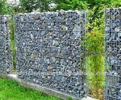 welded wire fence boulder rock - Google Search