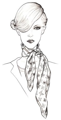 "On ""Fashion Police"" Kelly and Giuliana made fun of Brad Goreski for his pronunciation of Louis Vuitton, well he was absolutely correct. The French pronunciation of Louis Vuitton is ""Lwee VwitOH"". This is Sunny Gu's Louis Vuitton scarf. Fashion Illustration Sketches, Fashion Sketchbook, Fashion Sketches, Moda Fashion, Fashion Art, Fashion Models, Fashion Design, Colouring Pages, Coloring Books"