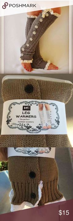 Tan leg warmers Never used . Tan . One size fits most, same as first picture except buttons are black Other