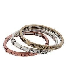 Look what I found on #zulily! Tri-Tone Inspirational Bangle Set #zulilyfinds