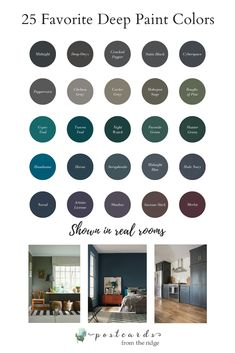 These deep paint colors are all so beautiful! Now I want to use dark paint somewhere! #paintcolors #darkpaint #deeppaint #saturatedcolors #moodycolors #interiors #homedecor