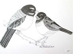 """Fantail Family, Spring"""" by Jan FitzGerald. Jan Fitzgerald describes her native New Zealand birds using traditional Maori patterns for their plumage. I love the way she informs me with her drawings"""