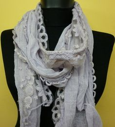 Women Shawl Scarf  Headband Necklace Cowl with Lace by fatwoman, $19.00