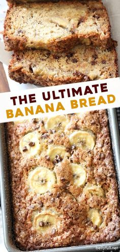 The absolute Best Banana Bread recipe made with a cinnamon-sugar crust, moist from butter and sour cream, a combination of mashed bananas and sliced bananas, and chocolate chips and walnuts in every bite! Bonus, it's all made in one bowl! Moist Banana Bread, Chocolate Chip Banana Bread, Chocolate Chip Recipes, Banana Bread Recipes, Chocolate Chips, Recipes With Bread Slices, Best Sour Cream Banana Bread Recipe, Fried Honey Bananas, Amigurumi
